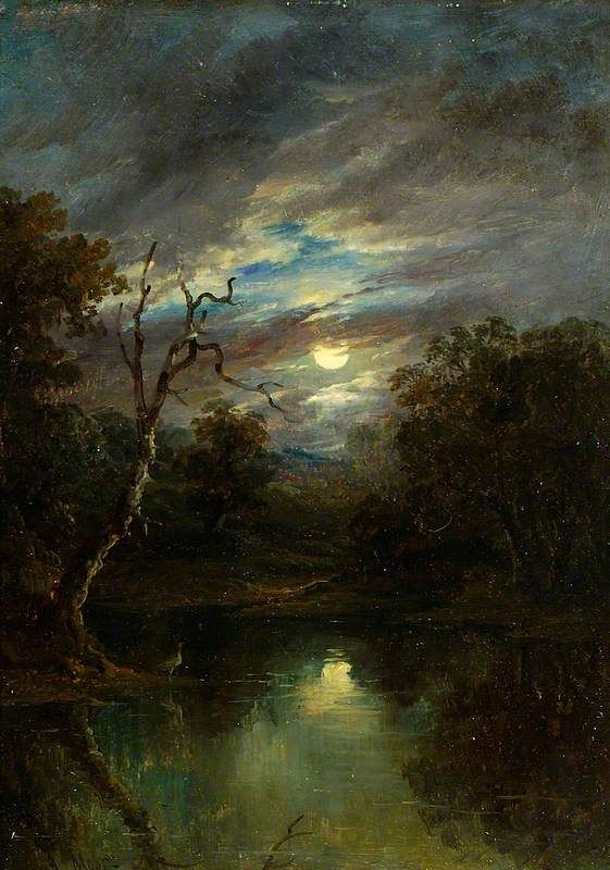 Moonlit Landscape, ca.1850–1902, by John Moore of Ipswich. Oil on panel. Colchester and Ipswich Museums Service h