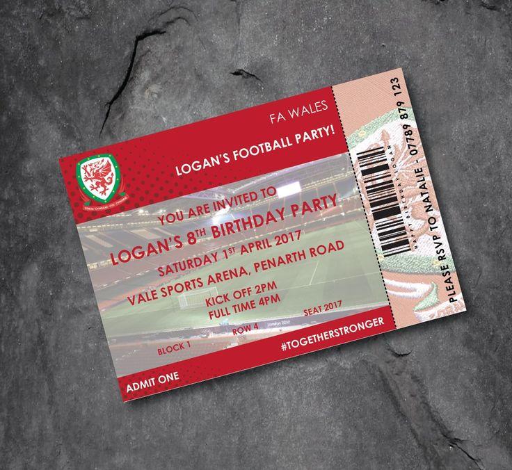 WALES football club personalised football invitations - ticket design