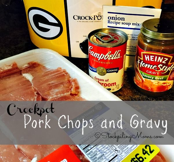 Crockpot Pork Chops and Gravy recipe is so easy to make with only 5 ingredients, making it the perfect slow cooker meal!