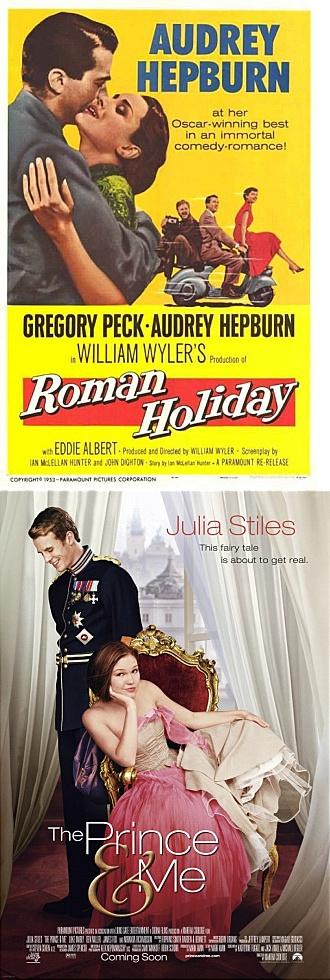'Roman holiday(1953)'와 'The prince and me(2004)'는 신분을 뛰어넘은 로맨스를 다룬 점에서 공통분모를 갖는다. 허나 약 50년의 세월 사이에 영화 속 판타지의 객체는 공주에서 왕자로, 사랑의 능동적 주체는 남자에서 여자로 변화했다.