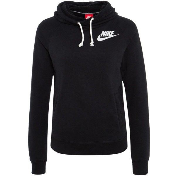 Nike Sportswear RALLY FUNNEL Hoodie ($69) ❤ liked on Polyvore featuring tops, hoodies, sweaters, nike, shirts, black, black hoodies, hooded shirt, black long sleeve shirt and print shirts