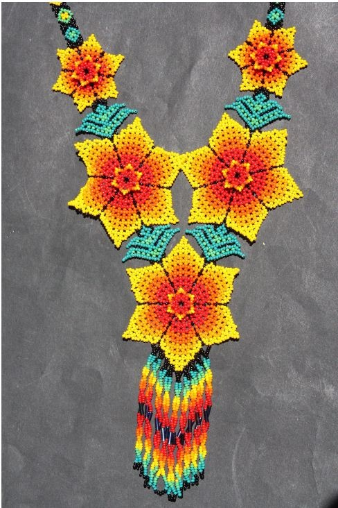 Made of fine beads, this necklace is from the Huichol Indians who live in the isolated region of the western Sierra Madre Mountains in Mexico.