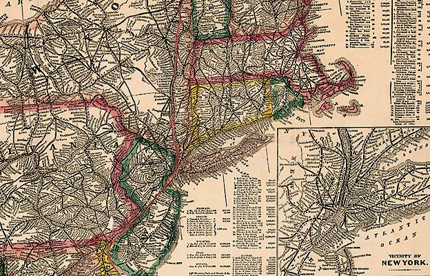 US railways 1871. Gaylord Watson railroad map of the United States dates from the early 1870s.