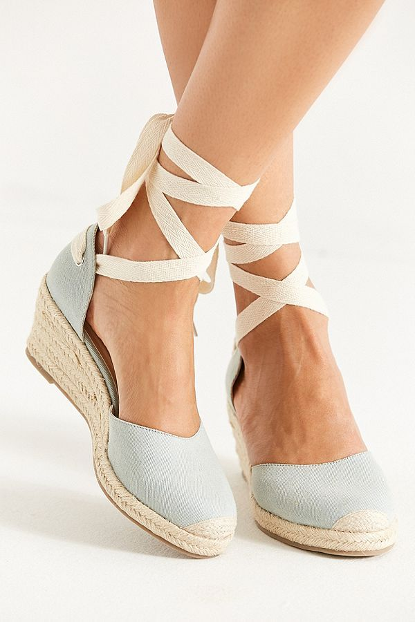 44794727501 Slide View  2  UO Espadrille Lace-Up Wedge