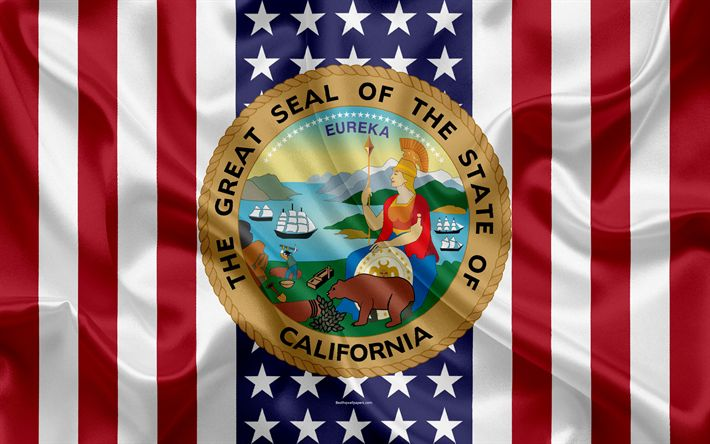 Download wallpapers California, USA, 4k, American state, Seal of California, silk texture, US states, emblem, states seal, American flag