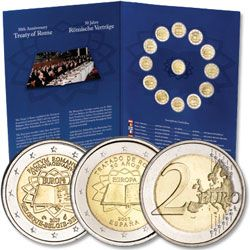 2 Euro Treaty of Rome Set  - Here's the first-ever 13-coin set of commemorative 2 Euros - one coin from every member of the Eurozone. Designs celebrate the 50th anniversary of the signing of the Treaty of Rome. Save 15% - NOW $135.15 www.littletoncoin.com