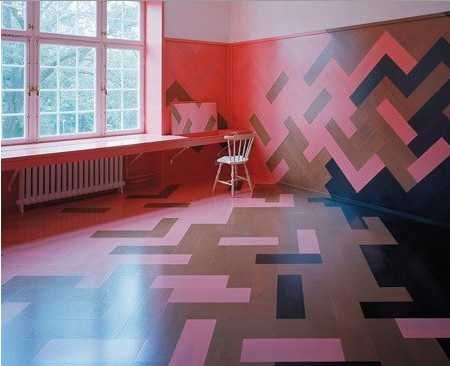 DIY Painted Wood Floors - Refurbishment of an apartment at Humlegården, Stockholm. Oversized and multicoloured parquet floors and walls. Stockholm (2008)