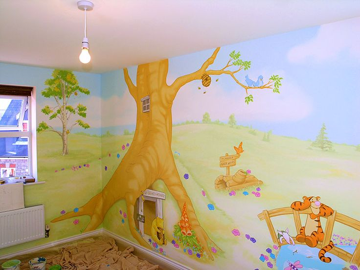 Winnie the pooh mural nursery pinterest house design for Classic winnie the pooh wall mural