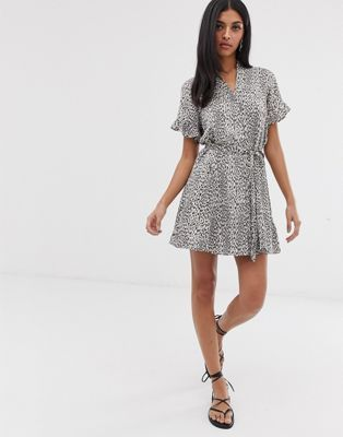 allsaints fay leopard button down mini dress asos