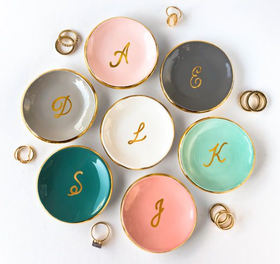Gold Monogrammed Ring Dish, Personalized Ring Dish -  Ring Holder, Jewelry Holder, Ceramic Ring Dish, Engagement, Gift for Her, Modern Mud