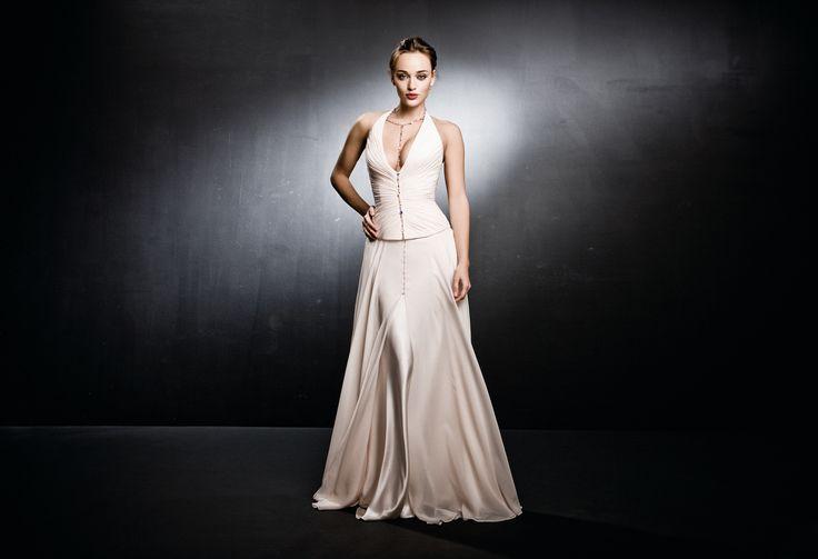 Silk georgette wedding dress with Swarovski beads