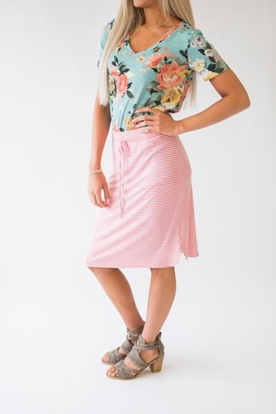 Stripe Midi Skirt - Pink #mindymaesmarket #dreamcloset this outfit is so cute and colorful! And looks super comfy!