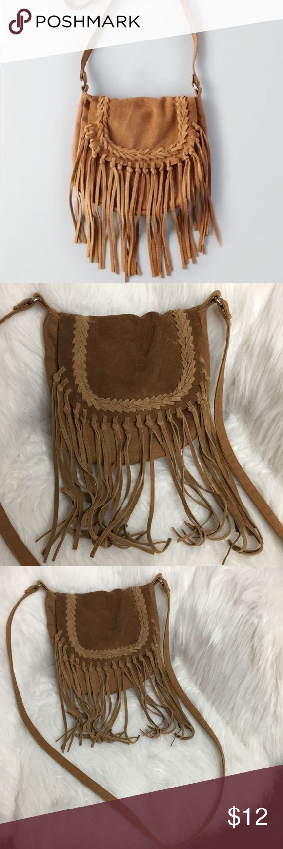 American Eagle Outfitters AEO Fringe Crossbody Bag American Eagle Outfitters AEO Fringe Crossbody Tote Bag in Cognac American Eagle Outfitters Bags Crossbody Bags