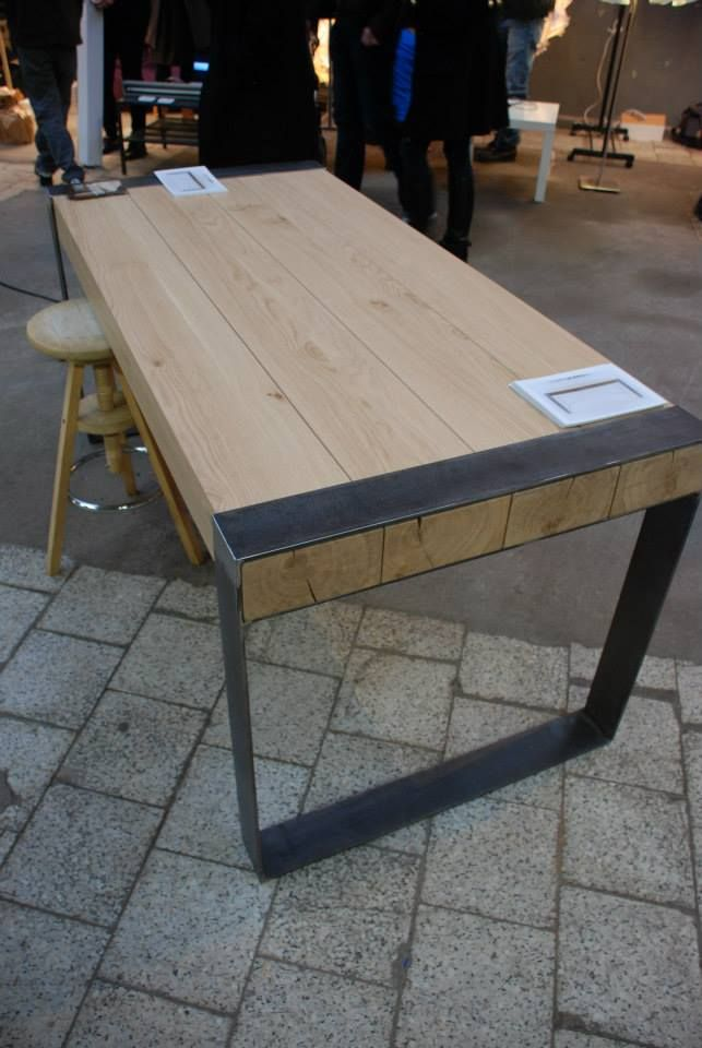 Solid oak and steel dining table made by poppyworks!