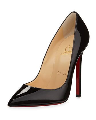 """Christian Louboutin patent leather pump. 4 1/2"""" covered stiletto heel. Pointed toe with low-dipped vamp. Leather lining and footbed. Christian Louboutin signature red leather sole. """"Pigalle"""" is made i"""