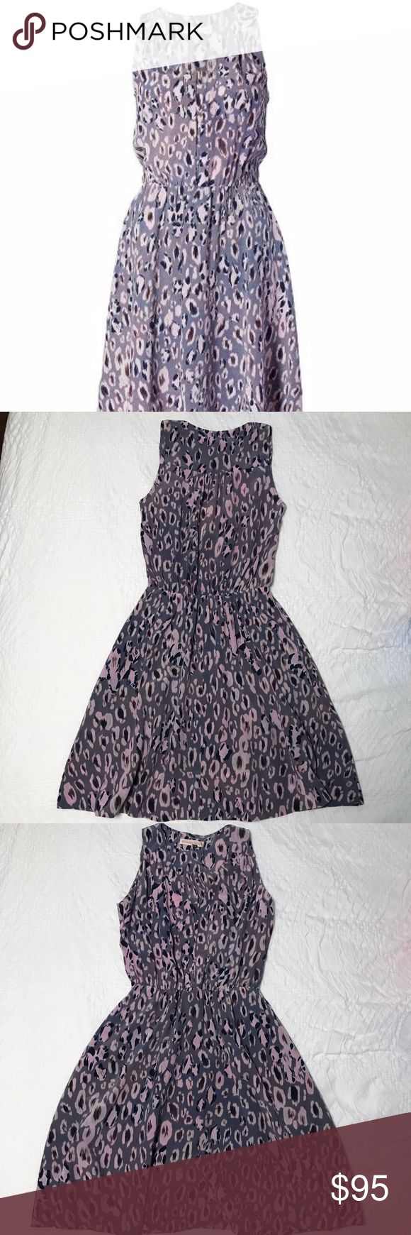 NWT Rebecca Taylor Ombre Cheetah Dress Size 2 NWT Rebeca Taylor Ombre Cheetah dress (#214903D349) in women's size 2.  This beautiful lavender cheetah-print v-neck dress has subtle pleating that adds soft dimension.  It has an elasticized waist and is 100% silk with 100% polyester lining.  It is very flattering and is the perfect piece for day or night.  Comes from a pet-free and smoke-free home. Rebecca Taylor Dresses