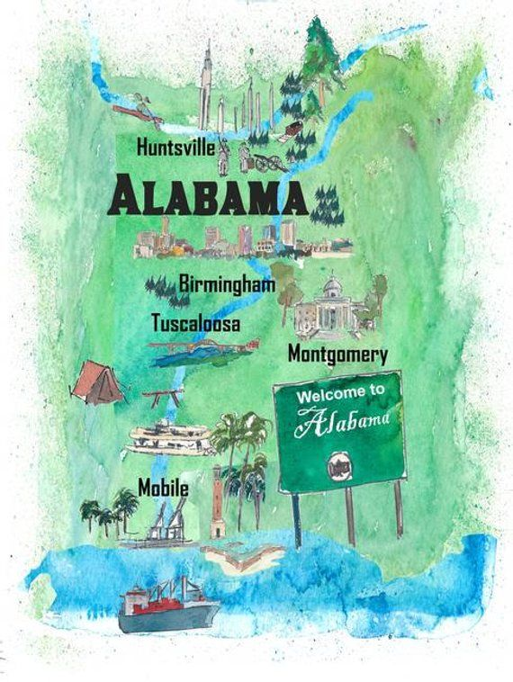 Birmingham Karte.Usa Alabama State Travel Poster Map With Tourist Highlights In 2019