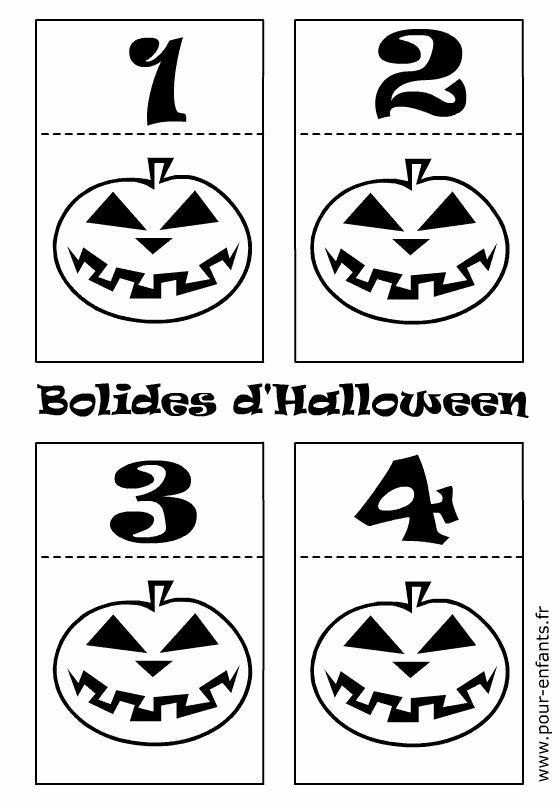 Jeux d'Halloween à imprimer pour enfants. Maternelle. Découpage pliage de petites voitures en papier.