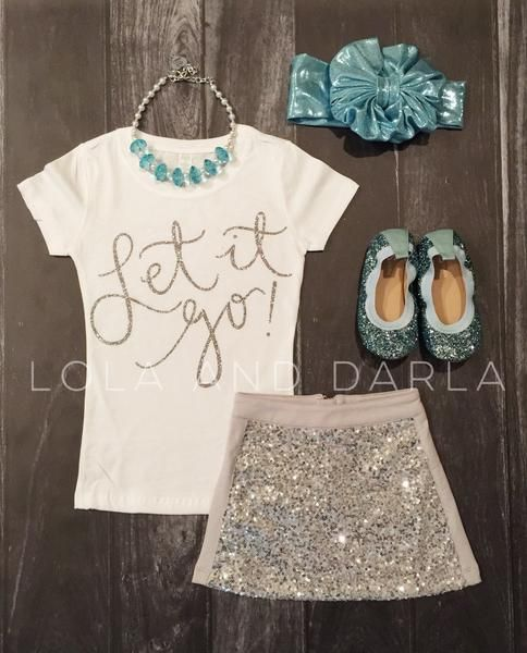 Let it Go! in silver sparkle Available Sizes: 2T, 3T, 4T XS 4/5, S 6/6X, M 7/8, L 10/12 True to size. 100% cotton Preshrunk This listing is only for the t shirt. Available on black, pink or whitet shi