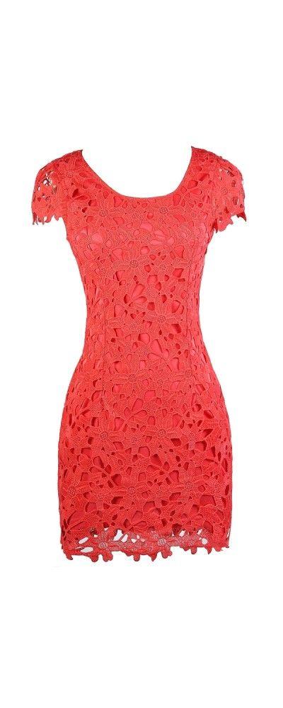 Lily Boutique Aris Crochet Lace Capsleeve Pencil Dress in Coral.