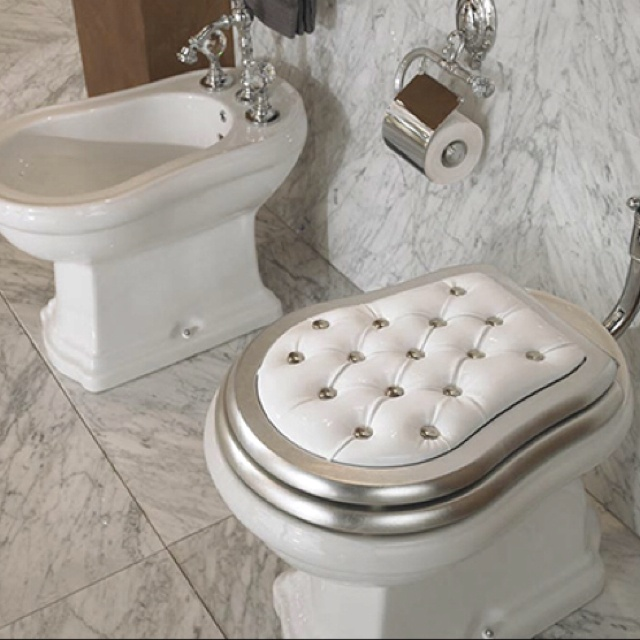   The upholstered look of luxurious, padded toilet seat cover… you can choose from either glamorous gold or gracious white. The traditional, ridged lines of the toilet are echoed by the coordinating bidet, which is also home to a set of ornate, crystal-topped taps.   http://www.biobidet.com/
