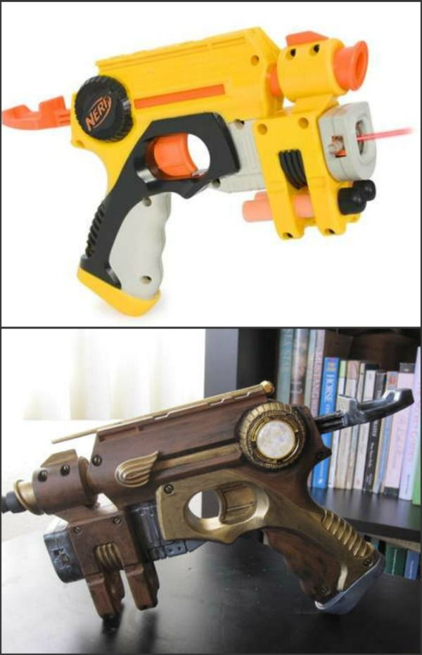 Steampunk Toy Gun Steampunk Nerf Gun: before and after (did I have to point that out?)