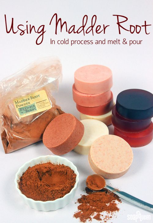 Using Madder Root Powder as a natural soapmaking colorant in both cold process and melt and pour soaps with various quantities and results for each amount used.