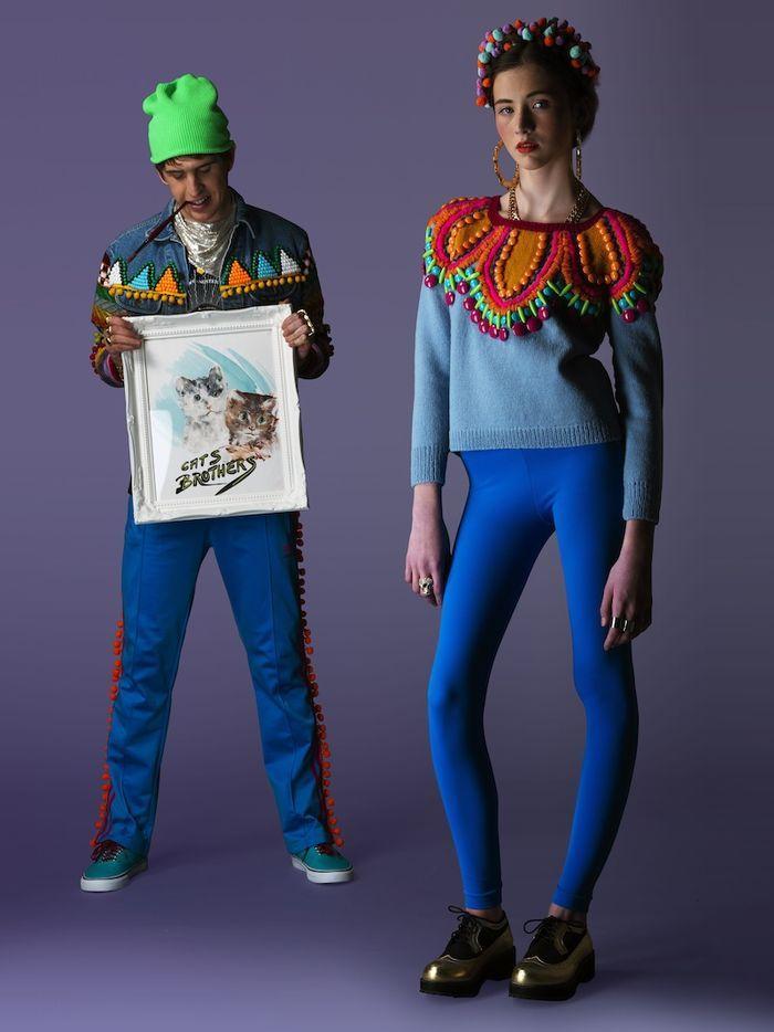 Beaded Sweater & Denim Jkt w Cats Bros!