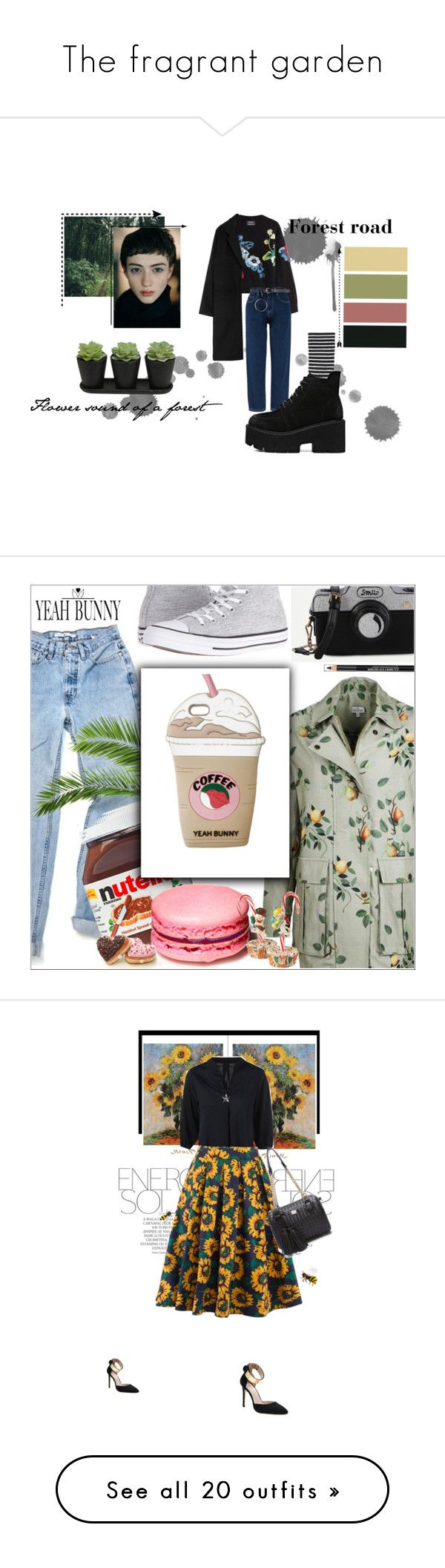 """The fragrant garden"" by marowa-v ❤ liked on Polyvore featuring Anthony Vaccarello, Uniqlo, Converse, Yeah Bunny, The Body Shop, YeahBunny, Magdalena, skirts, CasualChic and trends"