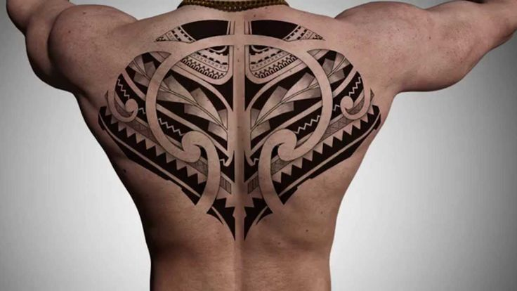 Tattoo design for back inspired in Maori style