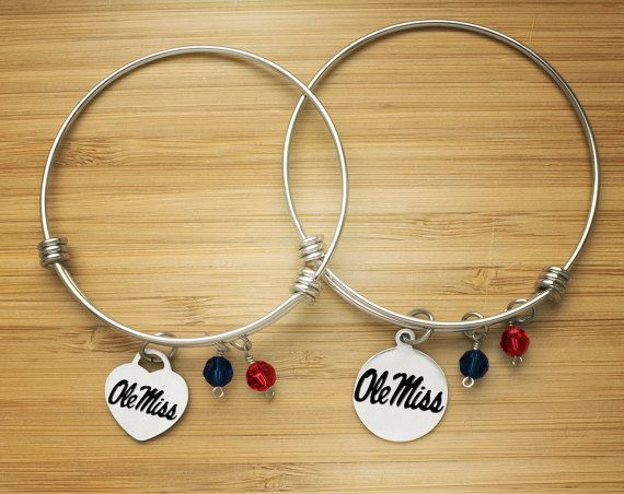 Mississippi Ole Miss Rebels Bracelet | Stainless Steel Adjustable Heart Bangle | Three Styles | Officially Licensed