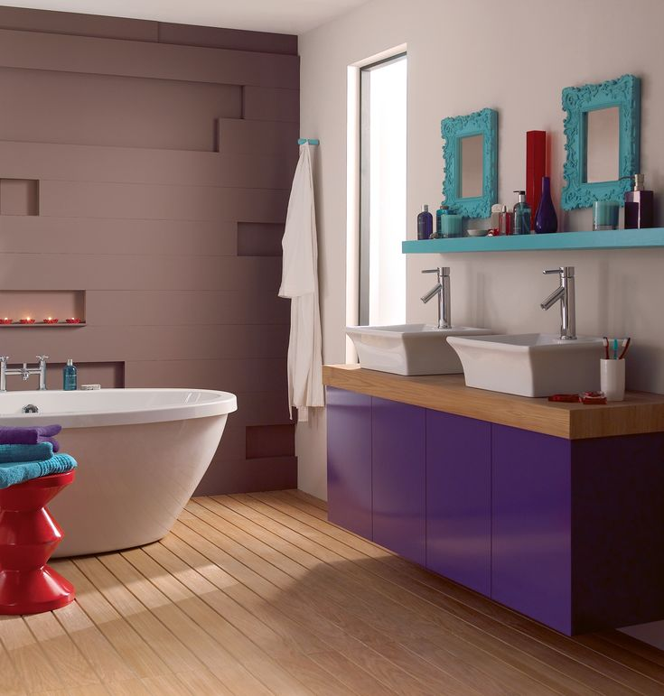 create this funky bathroom by painting your cabinets with amethystfalls 2 and contrasting them