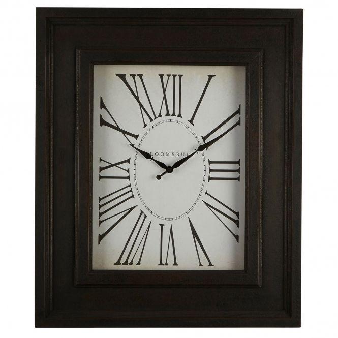 Black Rectangular Wall Clock Clock Metal Clock Shabby Chic Clock