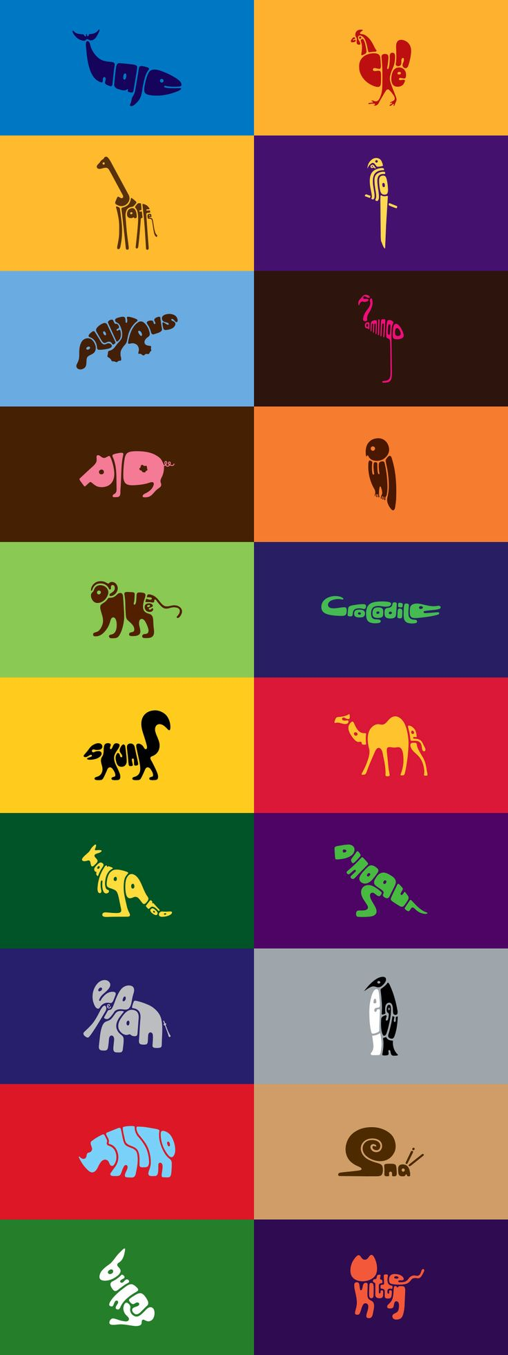Styling the type into animal shapes is a great idea.