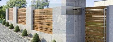 option 2 - stone, concrete, wood slats, glass