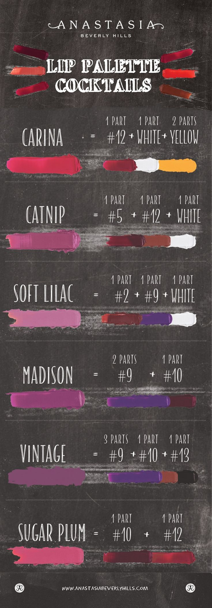 The Anastasia Beverly Hills Lip Palette gives you 18 different shades with endless possibilities to mix and customize your own shades! Come up with your own or use one of our cheat sheets!