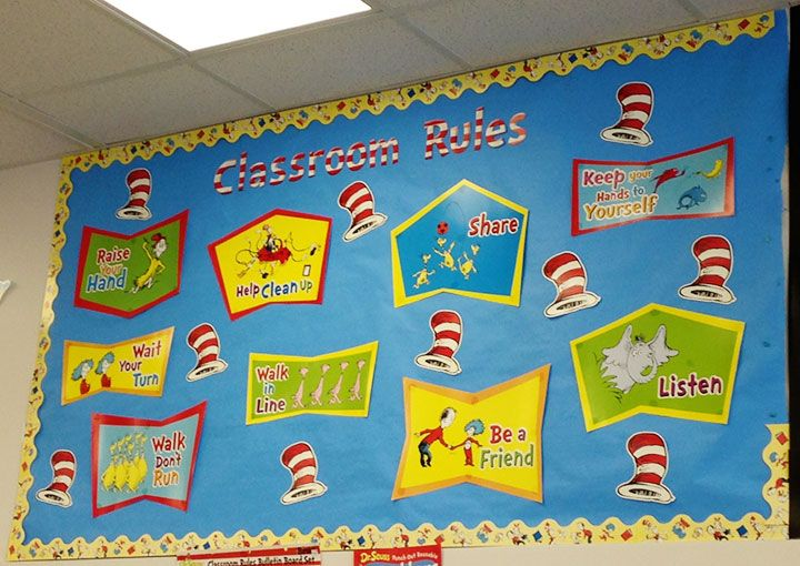 Dr Seuss Classroom Rules Bulletin Board Set Cat In The