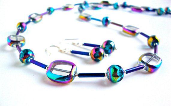 Iridescent blue beaded necklace set  Czech by sparklecityjewelry