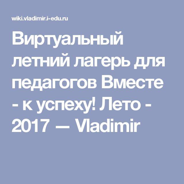 Виртуальный летний лагерь для педагогов Вместе - к успеху! Лето - 2017 — Vladimir