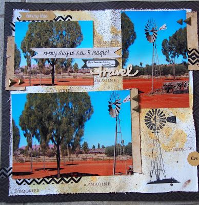 Quintessentially Australian. Made for a challenge at Soul Scrappers. Inspired by a layout I saw on Darkroom Door. Windmill stamp is Kasazz.