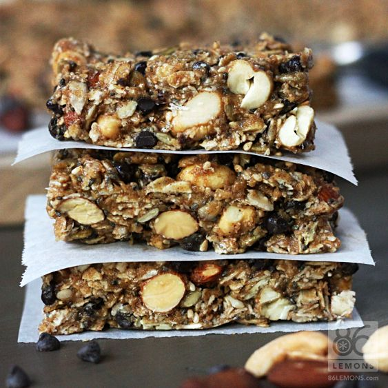 Vegan/GF Chocolate Peanut Butter Breakfast Bars by 86lemons: No bake. #Breakfast_Bars #Healthy #GF #Vegan