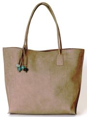 Moroccan Grey Leather Shopper Tote