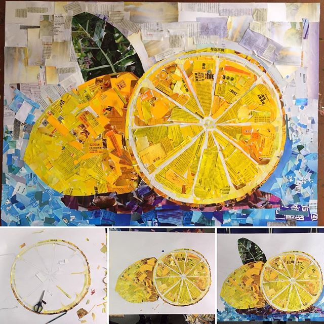 A recycling collage art project related to the international primary curriculum…
