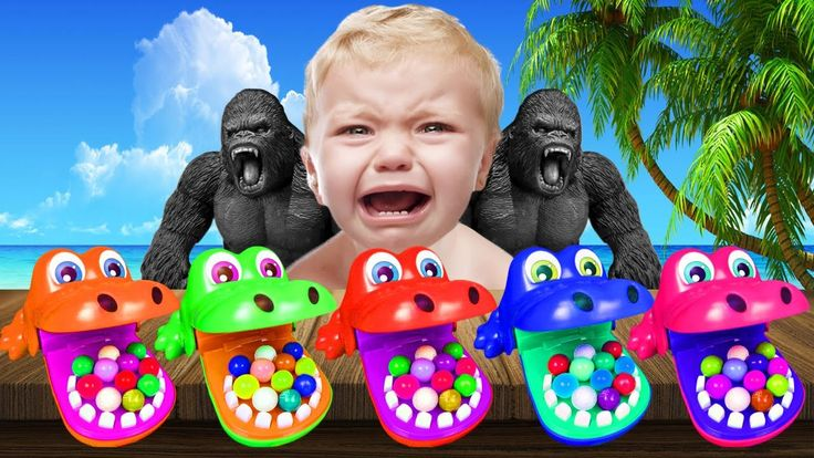 Bad Baby Crying Learn colors Crocodile Dentist Toy and King Kong with Bu...