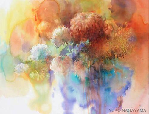 Watercolor of flowers by Yuko Nagayama