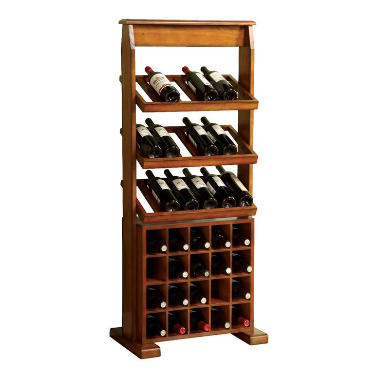 Shop Furniture of America Guarda 38-Bottle Antique Oak Finish Freestanding Floor Wine Rack at Lowes.com