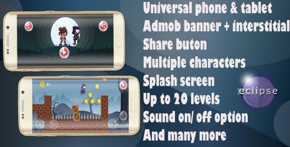 Super Ninja :Android Game - Easy Reskin - Admob Ads - Multiple characters- And more . Super ninja is a game created by buildbox with multiple characters that you choose to continue to play the character can kill the enmy the games  contains ads of admob banner and interstitial and easy to