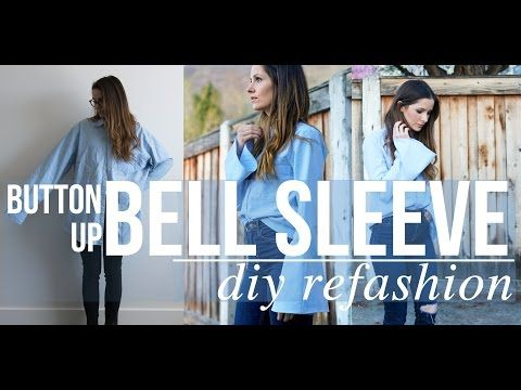 DIY men's top to bell sleeve button up refashion - YouTube