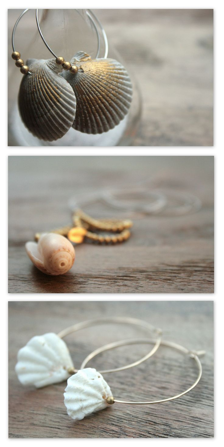 Beach Jewelry Sea Shells Hoop Earrings and