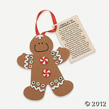 """""""Legend Of The Gingerbread Man"""" Ornament Craft Kit, Ornament Crafts, Crafts for Kids, Craft & Hobby Supplies - Oriental Trading"""
